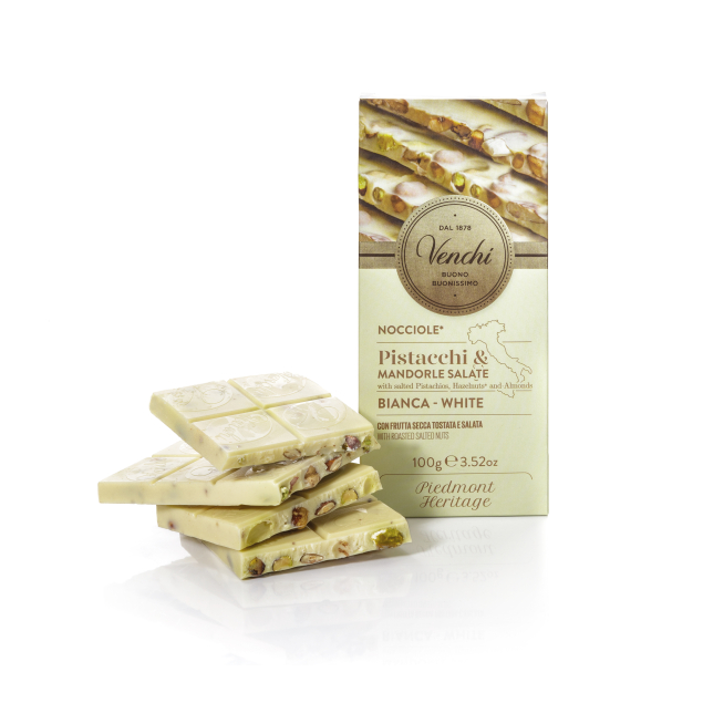 VENCHI WHITE CHOCOLATE BAR WITH SALTED NUTS PISTACCHI