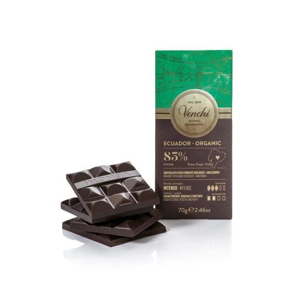 VENCHI ORGANIC ECUADOR DARK CHOCOLATE BAR 85%