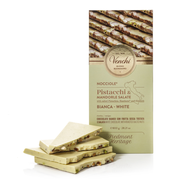 VENCHI 800g  WHITE CHOCOLATE WITH SALTED NUTS MAXI BAR 800G