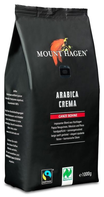 MOUNT HAGEN (kawy) KAWA ZIARNISTA ARABICA 100% CREMA FAIR TRADE BIO 1 kg